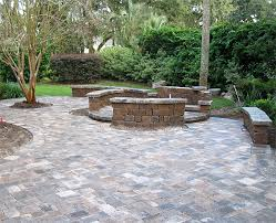 Patio Brick Pavers Hardscaping Ideas Brick Paver Patio Custom Firepit Retaining