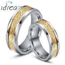 wedding bands for him gold celtic inlaid tungsten wedding bands set for women
