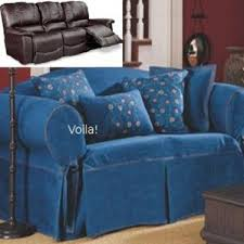 Dual Reclining Sofa Slipcover Denim Blue Jeans Sure Fit Recliner