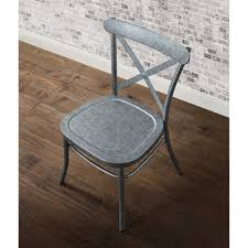 Silver Dining Chair Rustic Distressed Metal Crossback Galvanized Silver Dining Chair