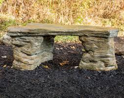 concrete rock garden bench