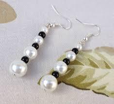 spacer earrings bridal white pierced earrings faux glass pearls black glass spacer
