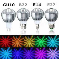 e27 b22 gu10 e14 5w dimmable rgb color changing led light bulb