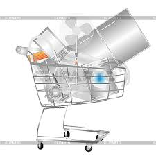 electrical household appliances in the shopping cart high