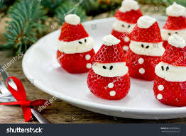 christmas party ideas kids strawberry santa stock photo 495838684