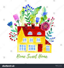 home sweet home watercolor illustration house stock illustration