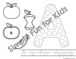 a is for apple dot marker coloring pages day 1 of apple