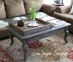 White Painted Coffee Table by Gray Wood Stain