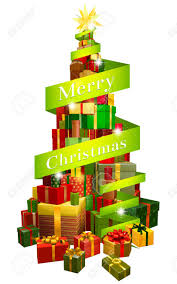a stack or pile of christmas presents or gifts in the shape of
