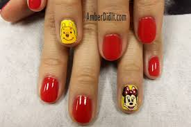 amber did it cartoon nail art mickey minnie winnie the pooh