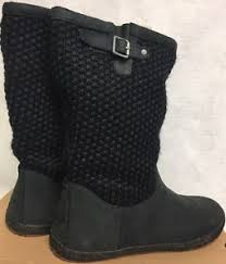 womens black leather boots australia ugg australia lyza black womens wool blend knit leather boots