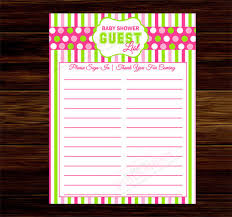 Baby Shower Guest List Template  8 Free Word Excel PDF Format