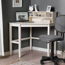 Corner White Desks Furniture Small Corner White Desk With Small Hutch And Gray