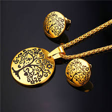 big stud earrings tree of 18k gold plated pendant necklaces big stud
