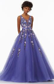 mori lee prom 99131 a line tulle v neck ballgown with floral