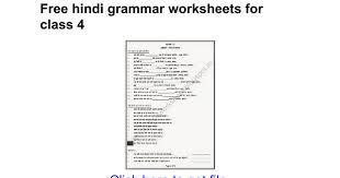 free hindi grammar worksheets for class 4 google docs