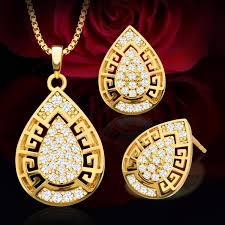 drop shaped necklace images 2018 european and american new bride jewelry set 18k gold plated jpg