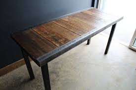 24 x 60 industrial desk with raw steel trim and straight steel