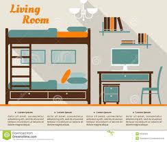 living room flat interior design infographic stock vector image