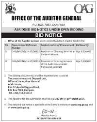for bid bid notice from the office of the auditor general