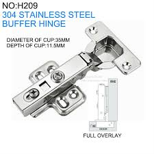 Cabinet Hinge Overlay 4 Pieces Lot Lichen 304 Stainless Steel Full Overlay Buffer Hinges