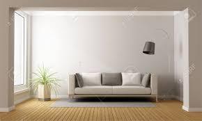 minimalist living room minimalist living room with sofa on carpet 3d rendering stock