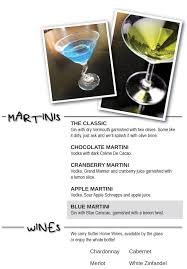blue martini bottle menus checkered flag