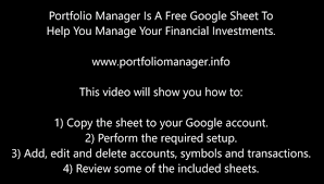 Google Spreadsheet Free Free Google Spreadsheet To Manage Your Investments Youtube