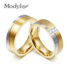 wedding gold rings modyle new fashion gold color wedding rings for men and women