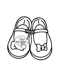 girls shoes with bows coloring page printable free