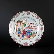 mandarin porcelain porcelain plate with mandarin figures decoration china qianlong
