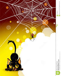 halloween spider web and black cat background stock image image