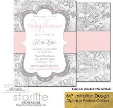 pink and gray damask baby shower invitation shabby chic baby