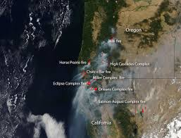 Oregon Forest Fires Map by Fires Ravaging Washington Oregon And California Nasa