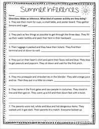 freebie summer inferences worksheet for 3rd 5th grade week 14