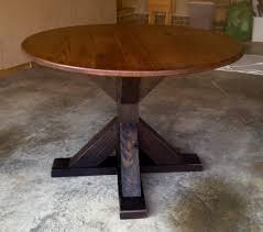 buy a custom made reclaimed round red oak trestle table made to