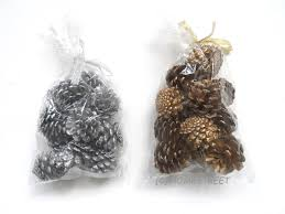 pack of 12 christmas pine cones for decoration or craft in silver