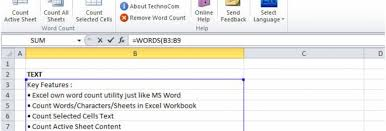 Count Words In Excel Excel Word Count Windows 10