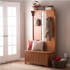 hallway coat rack entryway mirror storage bench seat 4 posts oak