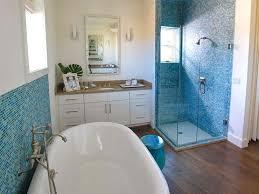 mosaic blue glass tile cottage bathroom hgtv
