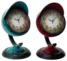 Small Clock For Desk Old Fashioned Set Two Table Clocks Blue Red Metal Frames Home