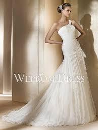 convertible mermaid wedding dress mermaid trumpet one shoulder dropped waistline white pleated