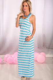 Light Blue White Striped Racer Back Maxi Dress White Maxi Dress