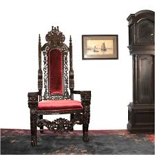 Throne Style Chair Giant Mahogany Throne Chair For King Queen Or Maybe Santa Claus