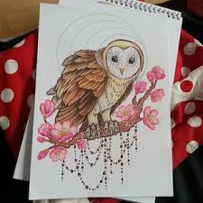 barn owl and cherry blossom tattoodesign colours owl