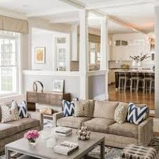 open concept kitchen living room design ideas tan couches wall