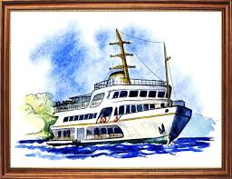 Cruise Ship Meme - cruise ship at the sea watercolour canvas print me me art