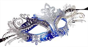 masquerade laser cut blue silver venetian mask clothing