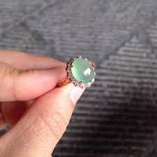 jade engagement ring 18k gold icy light green jade filigree band