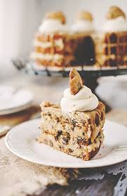 chocolate chip cookie layer cake with cookie dough filling salted